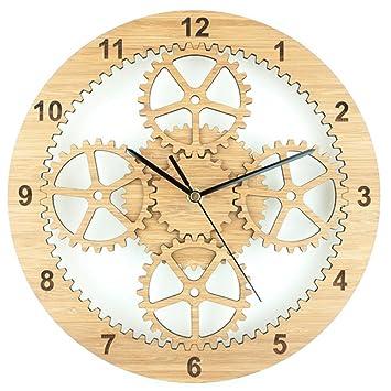 Relojes de Pared Silencio Madera Planeta Engranaje Reloj: Amazon.es: Deportes y aire libre
