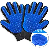 WUXIAN Pet Grooming Glove -Gentle Deshedding Brush Glove Efficient Pet Hair Remover Mitt and Massage Tool Perfect for Dogs & Cats with Long & Short Fur-2Pack