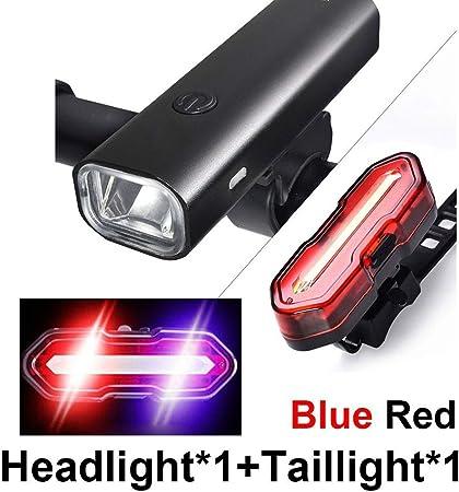 USB Rechargeable Bike Mount Front Rear Light with Flashlight Waterproof