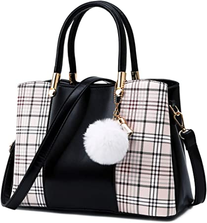 MORGLOVE Ladies Handbag Plaid Fashion Women Top Handle Bag PU Leather  Shoulder Bag with Many Pockets for Work and Daily Use (M, Black):  Amazon.co.uk: Luggage