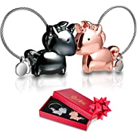 Porte Cle Couple De l'amour Deux Licornes S'embrasser - Bague À Chaîne Homme Et Femme Détachable Magnetique, Cadeau Fiançailles Noir + Or Rose en Boîte-Cadeau