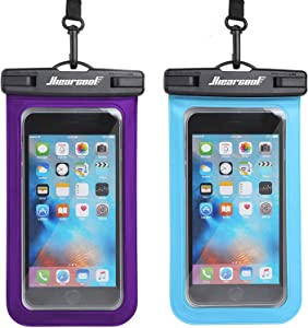 """Hiearcool Universal Waterproof Case,Waterproof Phone Pouch - IPX8 Cellphone Dry Bag for iPhone XR/8/ 8plus/7/7plus/6s Samsung Galaxy s10/s9 Google Pixel 2 HTC LG Sony Moto up to 7.0"""" - 2 Pack"""