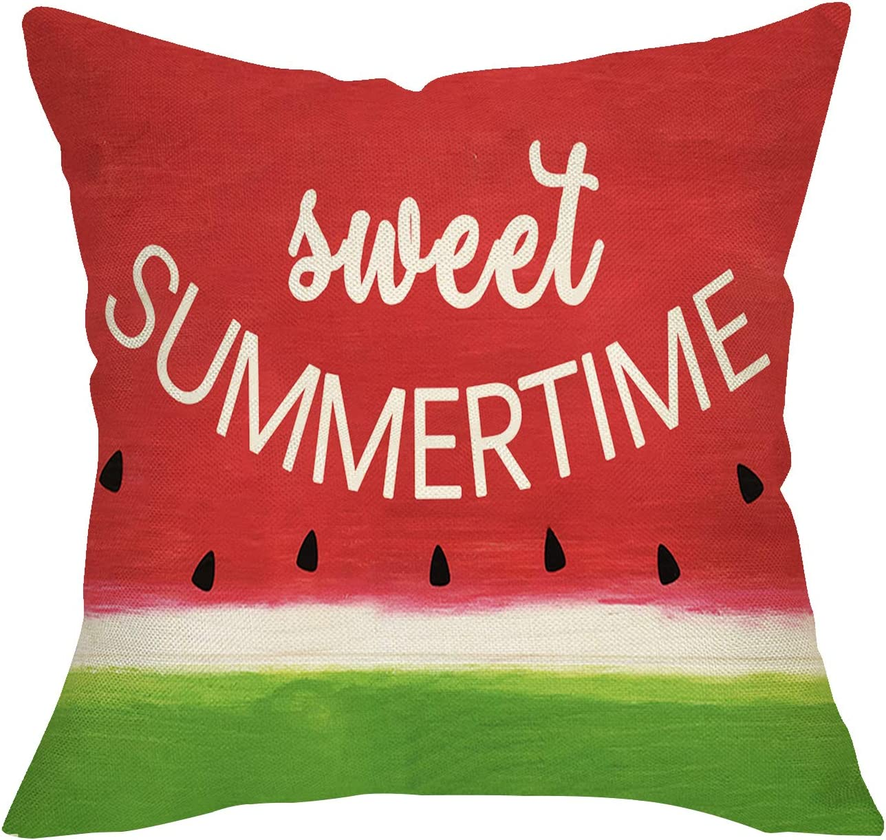 Softxpp Home Decorative Throw Pillow Cover Sweet Summer Time, Watermelon Sign Cushion Case Decor Seasonal Rustic Home Decorations, Square Pillowcase for Sofa Couch 18 x 18 Cotton Linen