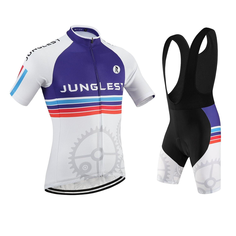 Cycling Jersey Set Wen半袖( S ~ 5 X L、オプション:よだれかけ、3dパッド) n134 B01BUHJ4CQ  種類: セット(ブラック前掛け) (2.8cm 3D pad)(Chest 45-47inchs)