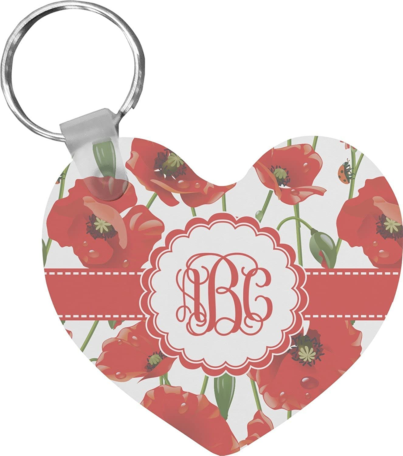 Poppies Heart Keychain (Personalized)