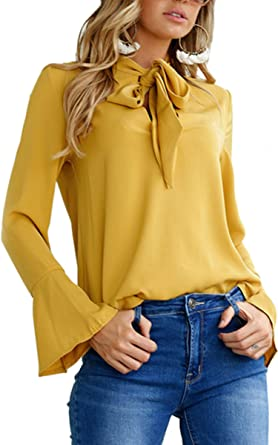 cf42ca34857a Angashion Women s V Neck Long Sleeve Bow Tie Flare Sleeve Blouse Solid Shirt  Tops