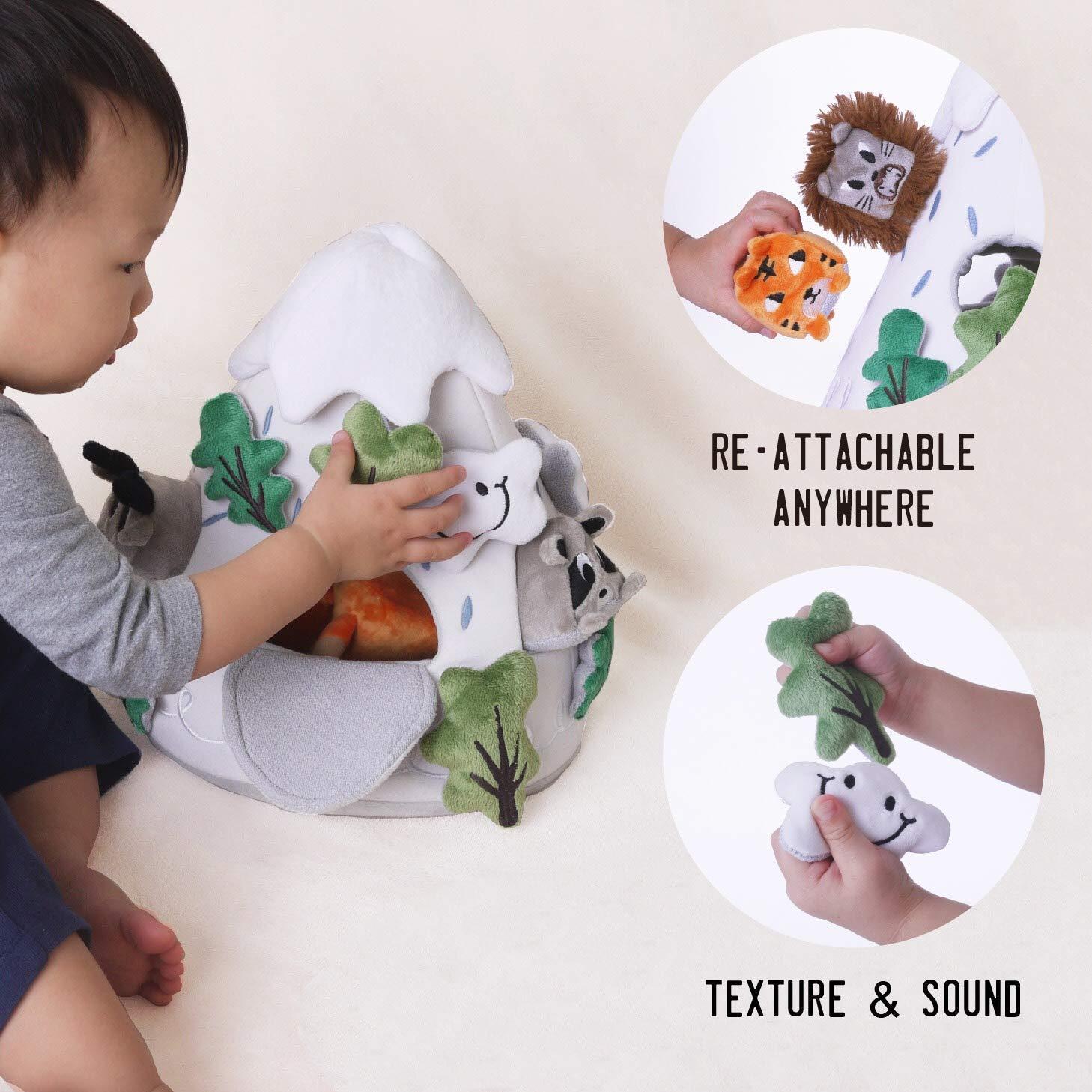 OK!DZO 12'' Mountain & Animal Shape Sorter Plush Developmental Toy Set (16 pcs)- Cognitive & Motor & Social Skills- Fun Bright Colors & Textures for Babies 0-36 Months by OK!DZO (Image #5)
