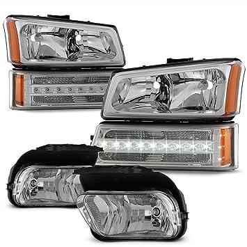 2003-2006 Silverado Halo Projector Clear Headlights+Bumper Lamps+LED Fog Lights