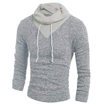 Suéter caliente para hombres Cuello alto de punto Otoño invierno Suéter con capucha de moda Tops