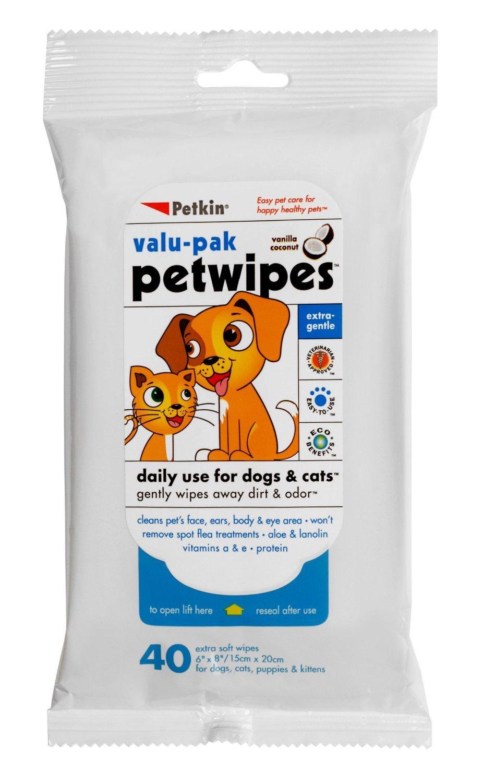 Petkin Abwischtüscher für Hunde / Katzen, zur sanften Entfernung von Schmutz und Geruch, 2 Packungen, insgesamt 80 Tücher (4 pro Packung) valu-pak petwipes