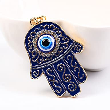 Amazon.com: meiyuan moda mano de Fátima ojo Azul clave ...