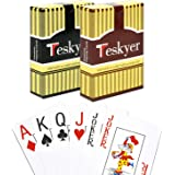 Playing Cards, 100% Waterproof Plastic Playing Cards, Poker Size, Large Printed Jumbo Index, 2 Decks of Cards, Black+Orange