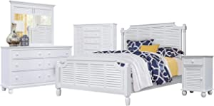 Sunset Trading White Shutter Wood 5 Piece Bedroom Queen Bed Set