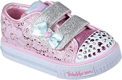 Skechers Girls Twinkle Toes Sweet Stepper Light UP Pink Lace