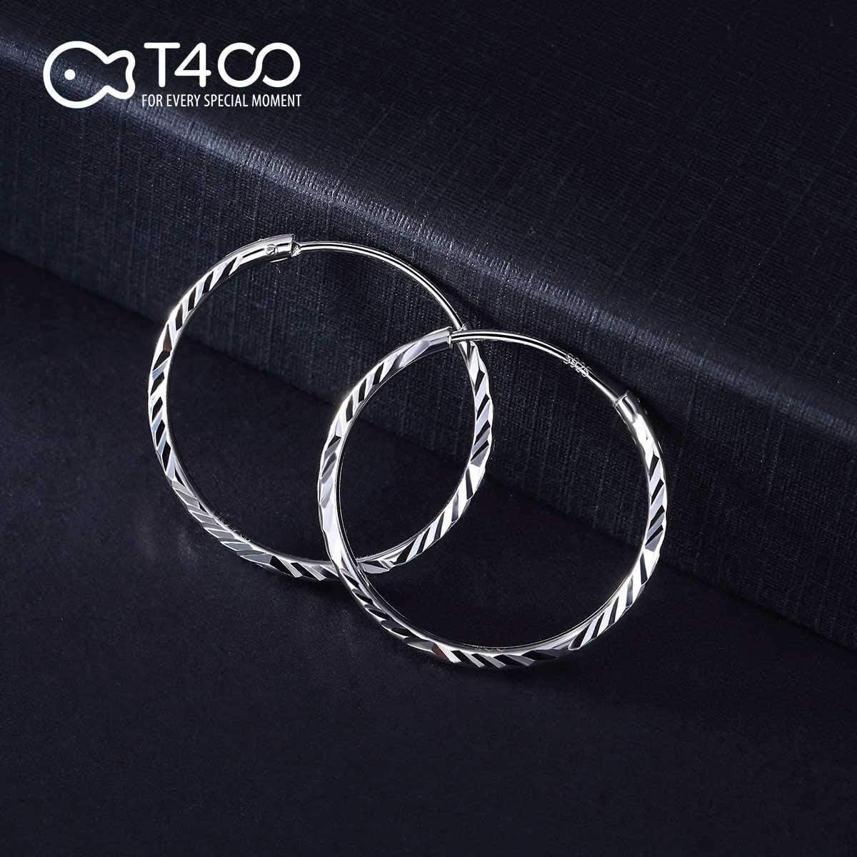 T400 Jewelers Boucles doreilles Cr/éoles en Argent Sterling 925 Bijoux pour Femmes Grand Cerceau Cadeaux pour Femmes Filles diam/ètre 25-65mm