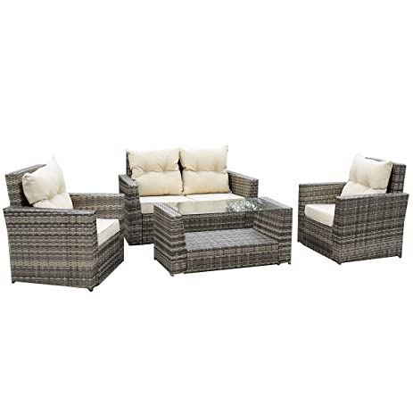 Amazon Tangkula 4PCS Outdoor Patio Rattan Wicker Furniture