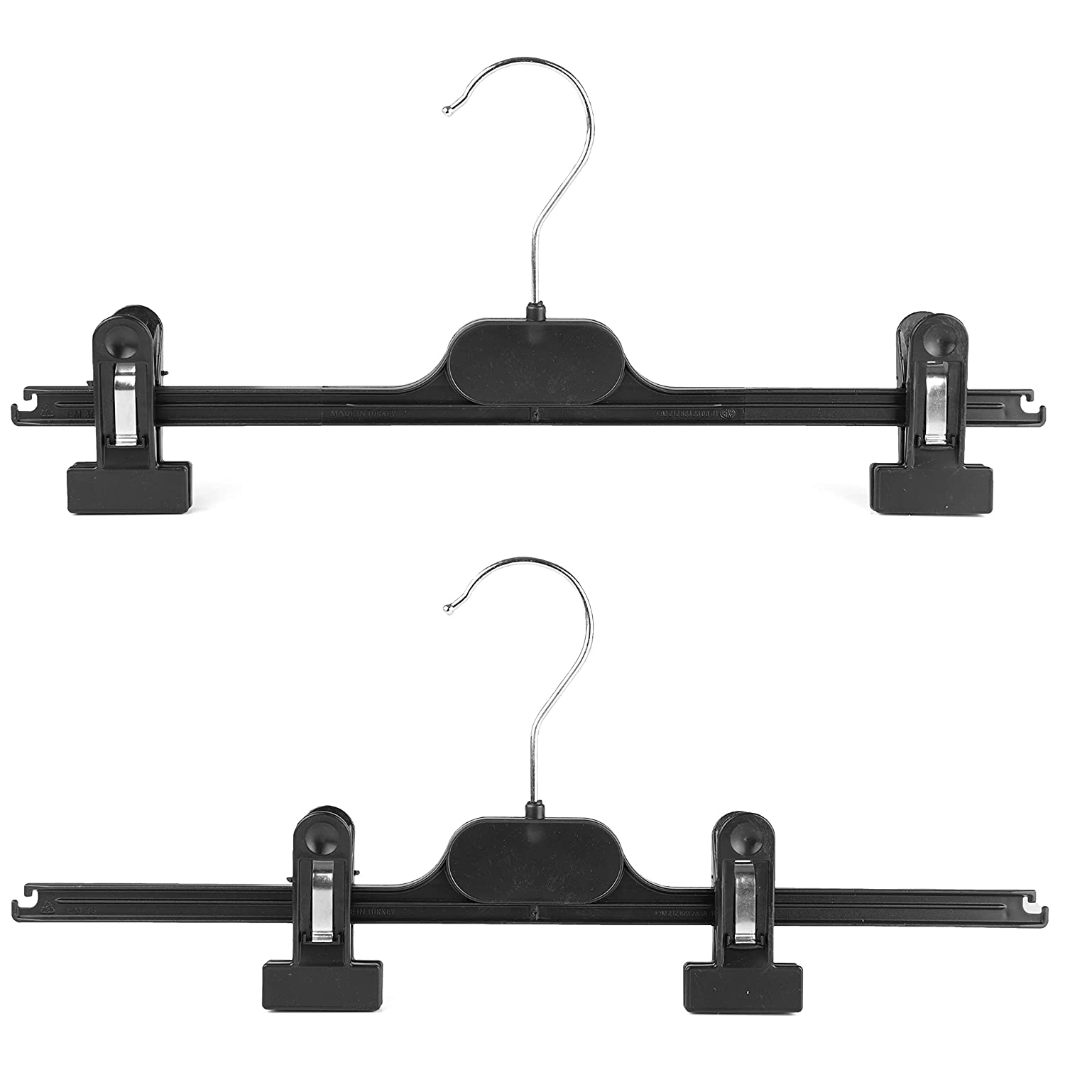 Skirts Coat Clothes Hanger For Trousers The Hanger Store 12 Strong Black Plastic Hangers With Clips