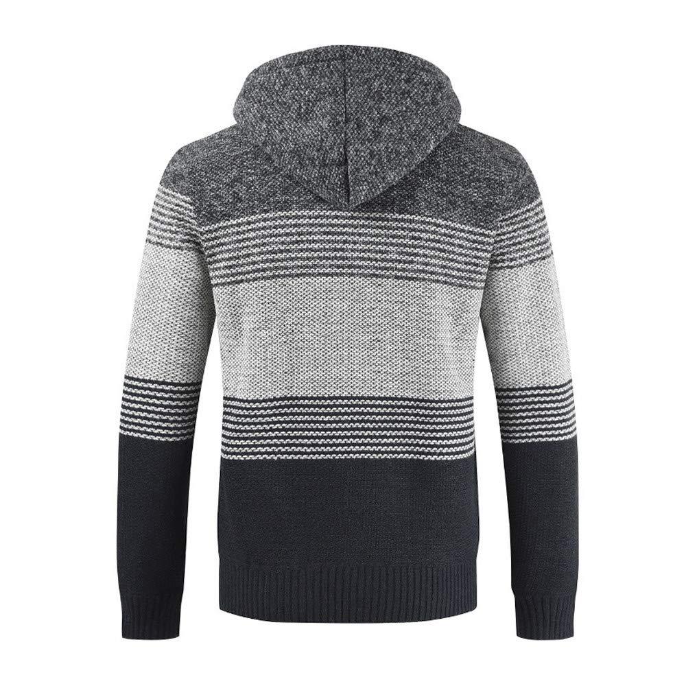 ... Color Block de Chaqueta de Punto y suéter Acolchado de Terciopelo Chaqueta de Invierno para Hombre de Rayas con Cremallera Sudadera con Capucha Outwear: ...