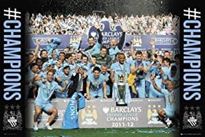 Manchester City Champions 2011 2012 Soccer Sports Poster 36x24