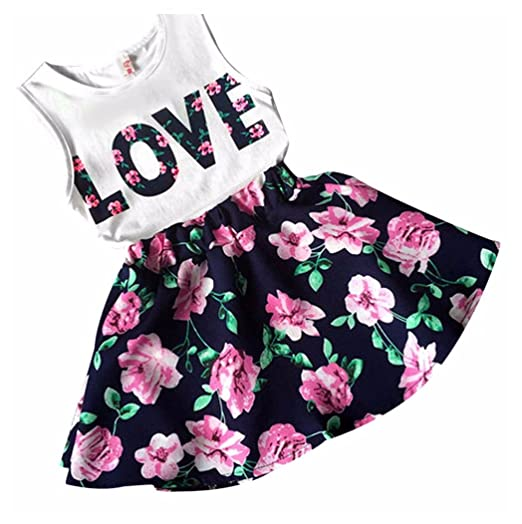 0272c7921324 Amazon.com: Kehen Kid Toddler Baby Girl 2Pc Valentine's Day Outfits Love  T-Shirt Tops+Flower Skirt Sets: Clothing