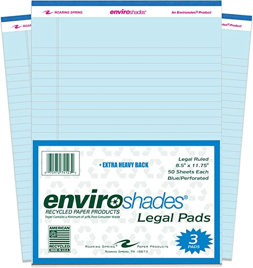 Pack of 3 Paper 8-1//2 x 11-3//4 Size Roaring Spring 74163 Enviroshades Legal Pad 50 Sheets Grey
