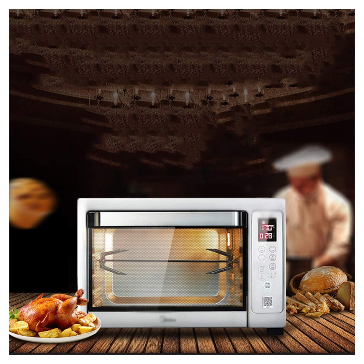 HARDY-YI ミニオーブン - スマートオーブン家庭用ベーキングオーブン多機能オーブン焙煎フォーク38 Lミニオーブン   B07QNF4KGM