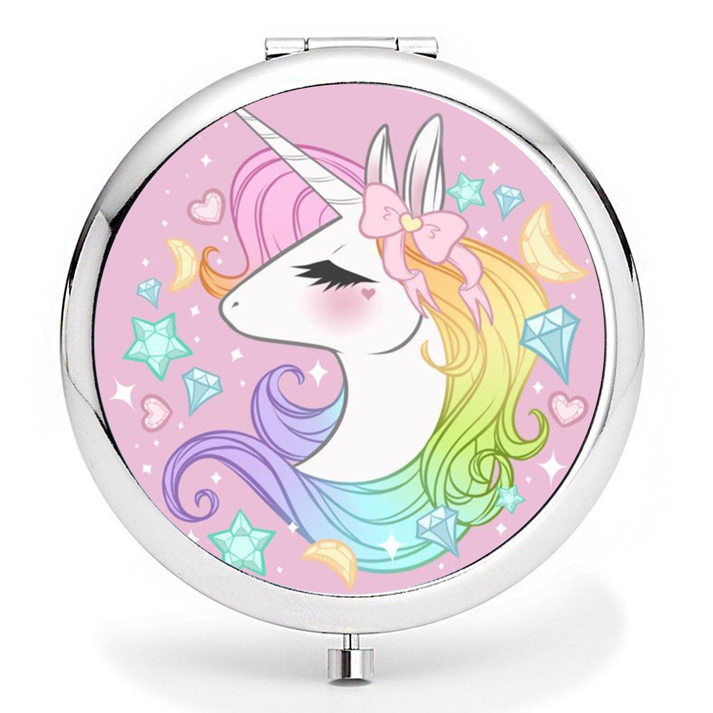 Compact Purse Mirror, Cute Unicorn Pattern Design ravel Mirror, Mini Makeup Mirror Romantic Gifts for Women and Girl(Unicorn5) Little Brother