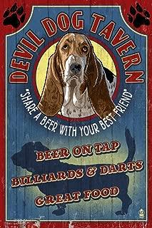 product image for Devil Dog Tavern Vintage Sign - Basset Hound (12x18 Art Print, Wall Decor Travel Poster)