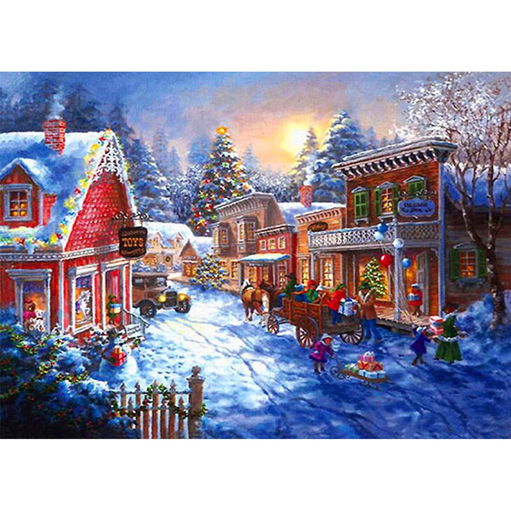 Happy Christmas Franterd Snow Country Town Diamond Painting Christmas House Decoration and Gift Full Square Resin DIY 5D Rhinestone Diamond by Number Kits Handcraft Arts Craft (C) Franterd Home Decor