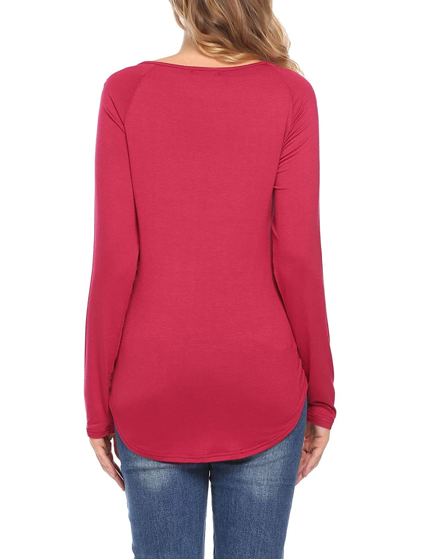 Zeagoo Women V Neck Cut Out 3//4 Sleeve Shirts Open Back Criss Cross Blouse Tops