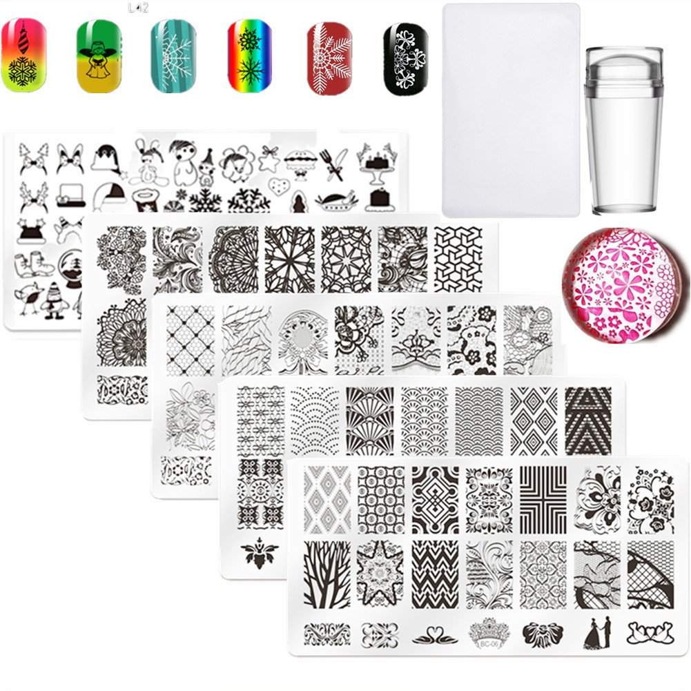 5Pcs Nail Art Plate Nail Stamp Stamping Template Image Plates Nail Art Equipment for Christmas LiBiuty