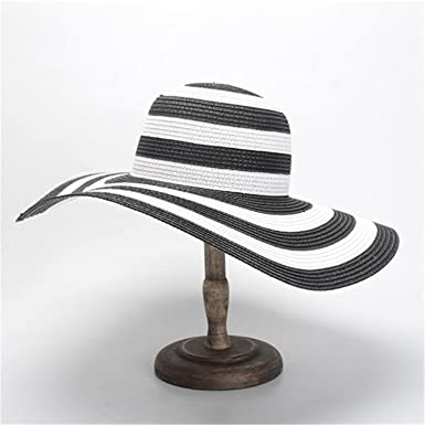 spyman Women Wide Brim Sun Hats New Black White Stripe Summer Hat Laides Casual Beach Hats Gorras Mujer Verano at Amazon Womens Clothing store: