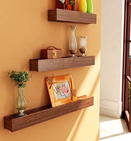 Home Sparkle Wooden Wall Shelves (Set Of 3, Brown)