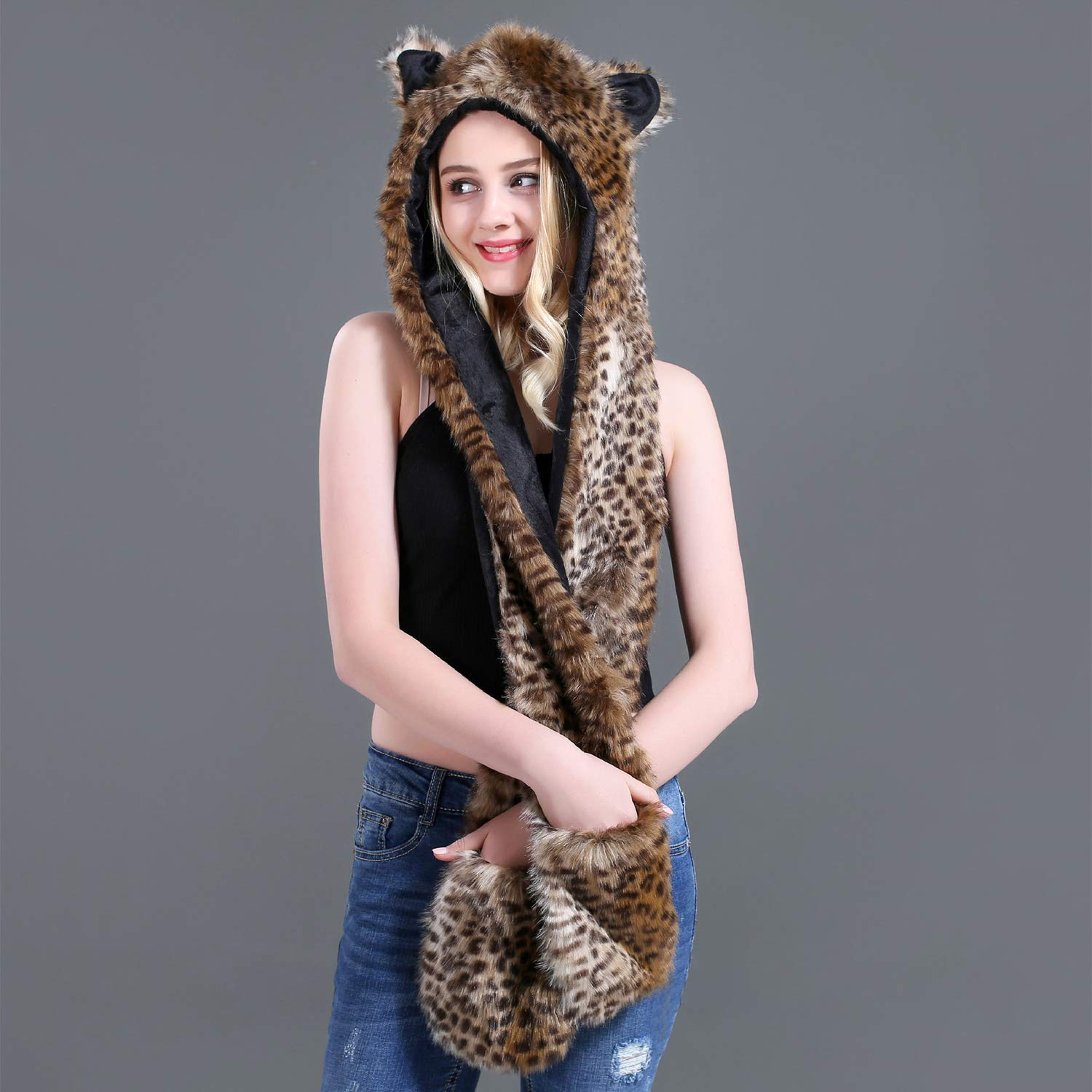 Women Men Faux Fur Hooded Scarf Hats Gloves 3-In-1 Set Cartoon Animal Thermal Beanie Hat Earflaps Long Scarfs Furry Trapper Hat Collar Scarf Mittens With Cute Ears And Bear Paws Christmas Gift