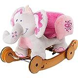 Labebe Child Rocking Horse Toy, Pink Rocking Horse Plush, 2 in 1 Elephant Rocker with Wheel for Kid 6-36 Months, Stuffed Animal Rocker Toy/Kid Rocking Toy/Wooden Rocking Horse/Rocker/Animal Ride on