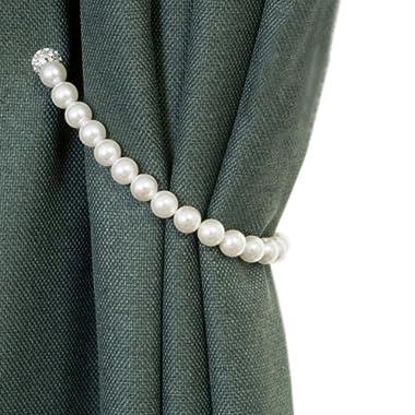 YYC 1Pair Elegant ABS Pearl Magnetic Curtain Tieback Curtain Buckle Rope Holder (35CM)