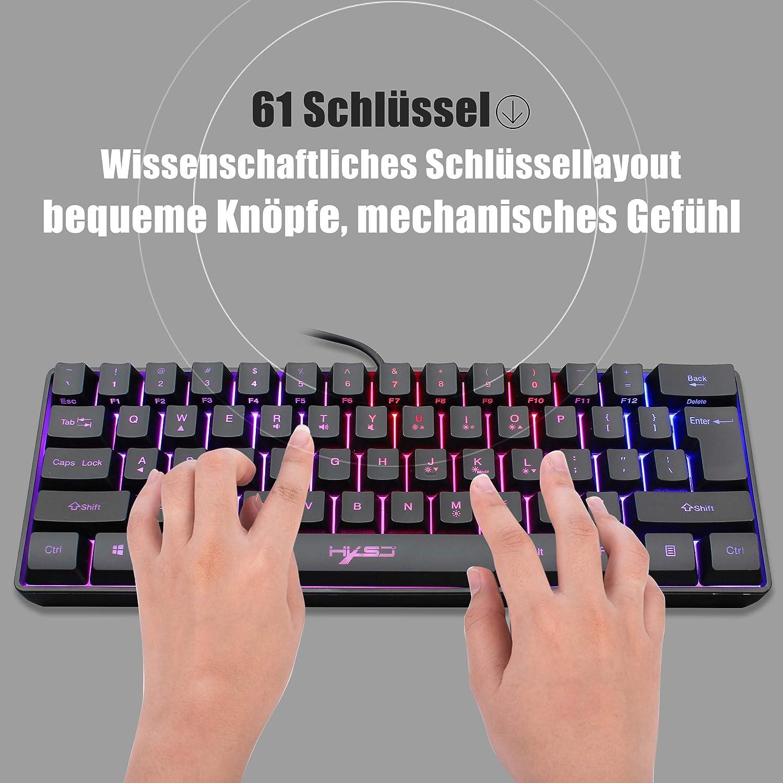 Reisen ultrakompakte Mini-Tastatur mit RGB-Hintergrundbeleuchtung f/ür PC//Mac wasserdichte Mini-Compact-Tastatur mit 61 Tasten Snpurdiri ST-K3 60/% kabelgebundene Gaming-Tastatur Schreibkraft
