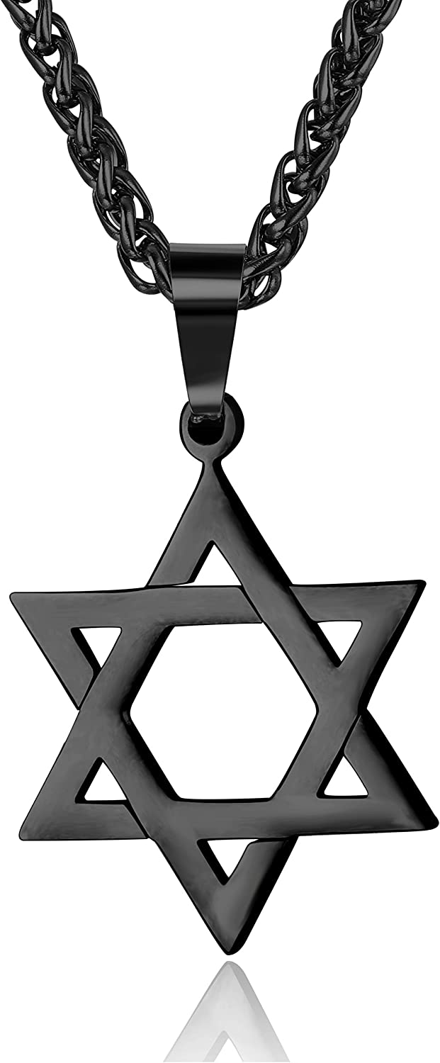 """Udalyn Star of David Pendant Necklace Stainless Steel Jewish Jewelry for Men Women Religious 20"""""""