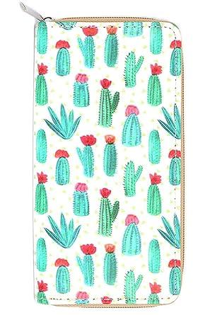 Amazon.com: Cactus Imprimir cierre alrededor Billetera ...