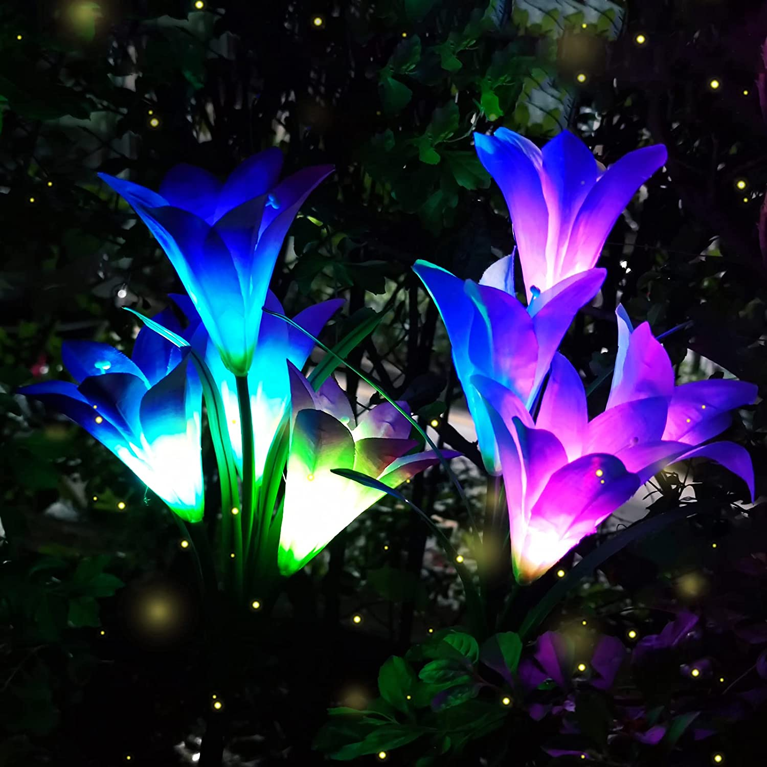 Solar Garden Flower Lights Outdoor Decorative Lily Size 4.3 inch, 28 inch High, 7 Discoloration, 2pack (Blue x1 Purple x1)