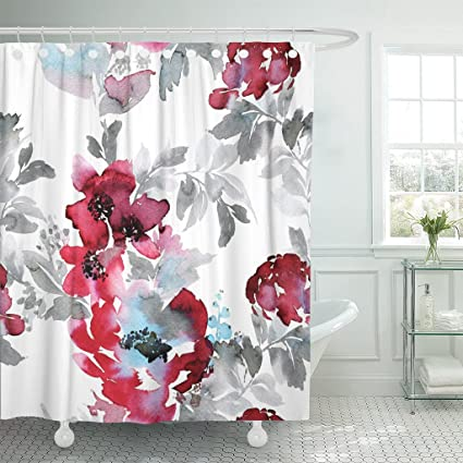 Amazon TOMPOP Shower Curtain Blue Large Burgundy Red Watercolor