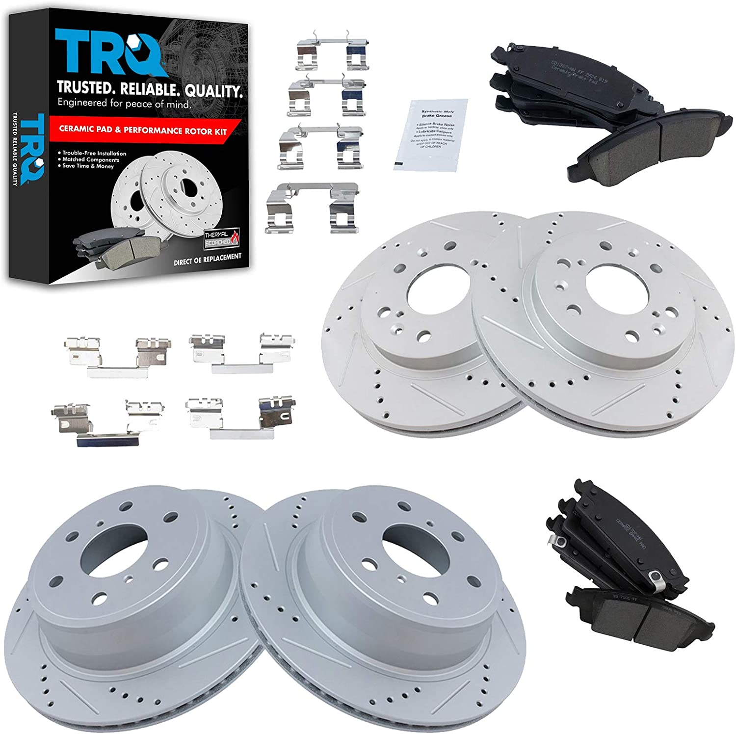 Performance Drilled /& Slotted Brake Rotors /& Ceramic Pads Front and Rear Kit
