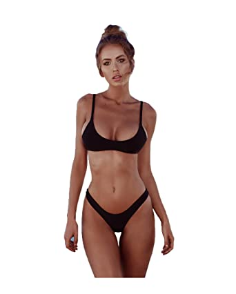2557f12d30453 2019 Womens Sexy Solid Color Brazilian Bikini Set- Triangle Thong Soft  Padded Leak Cleavage Bikini Set 2 Piece Swimsuit  Amazon.co.uk  Clothing