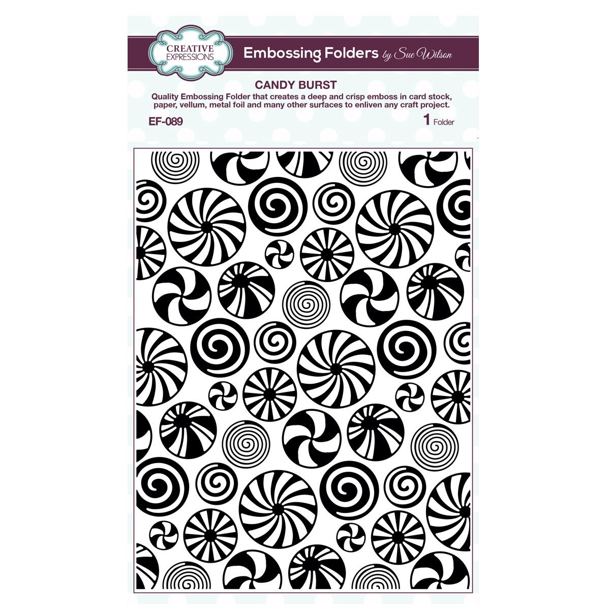 Creative Expressions Sue Wilson EF-089 Embossing Folder 5. 75 x 7. 5 - Candy Burst