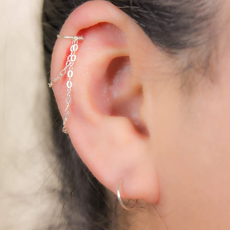 dainty everyday piercin Non pierced 14k gold filled925 sterling silver criss cross fake faux earringnoselip ring helixcartilagetragus