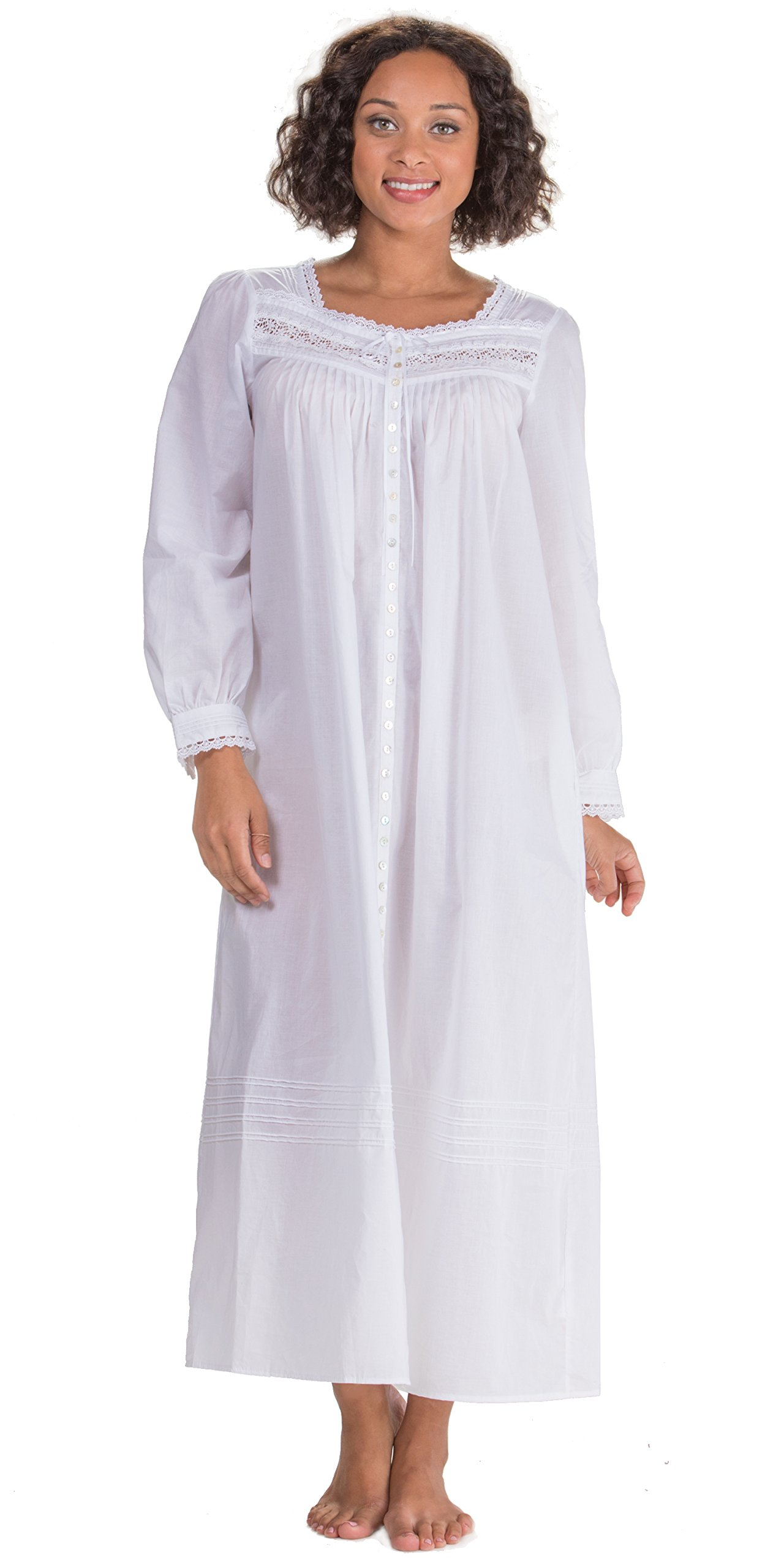 Eileen West Peignoir Set by White Cotton Gown & Robe In Magnolia (White, Large) by Eileen West (Image #2)