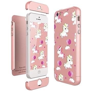 CE-Link Funda iPhone SE/iPhone 5 / iPhone 5s, Carcasa Fundas para iPhone SE/iPhone 5 / iPhone 5s 3 en 1 Desmontable Ultra-Delgado Anti-Arañazos Case ...