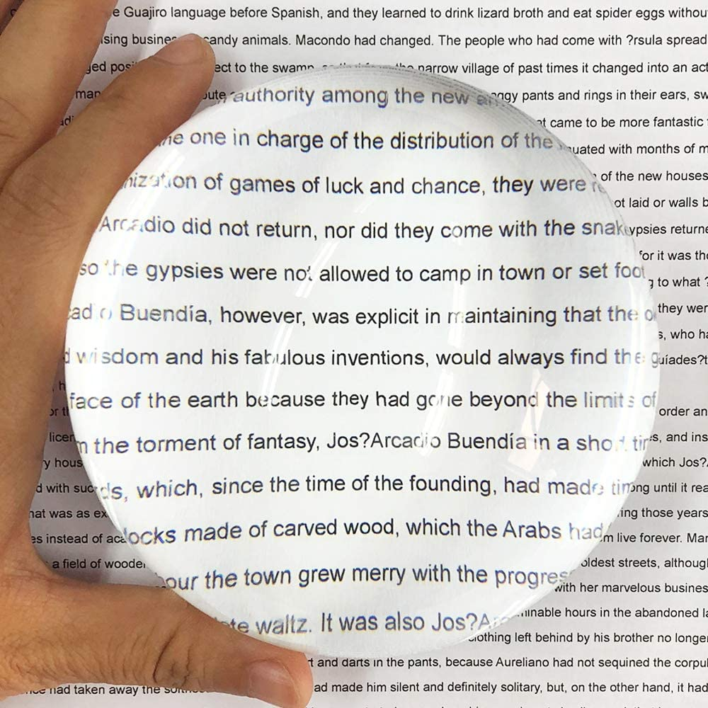Decorative Newspapers 98mm Maps Large 4 Paperweight Dome Magnifier-Crystal Acrylic Magnifying Paperweight-Half Ball Magnifying Optical Globe for Blueprints