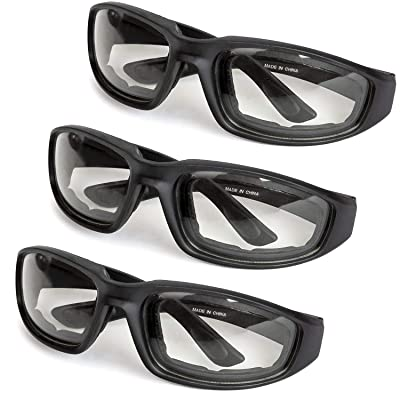 3-Pack Motorcycle Glasses – Foam Padding – Anti-Wind & Dust – Polycarbonate Lens (Clear): Automotive