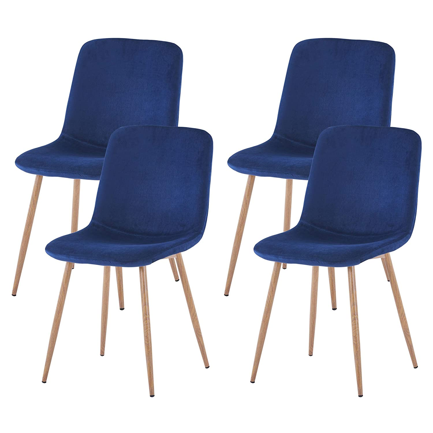 FOODAGE Modern Dining Chairs Set of 4, Velvet Upholstered Kitchen Side Chairs with Sturdy Metal Legs, Gorgeous Chairs for Dining and Living Room Blue